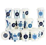 Papierdrachen DIY Adventskalender Kaffee-Becher - zum selber Basteln und Befüllen - mit blauem Washi Tape - 24 Coffee to Go Cups - Design Set 2