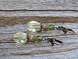 Vintage Ohrringe mit böhmischen Glasperlen - lemon chiffon, beige, oliv olivgrün, grün & bronze