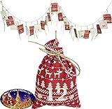 Mediablue Weihnachtskalender Adventskalender Säcke Strumpf Rentier Adventssäckchen Weihnachten 250cm