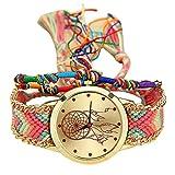 Jia Meng Van Native Handmade Damen Vintage Quarzuhr Dreamcatcher Freundschaftsuhren Dreamcatcher Armbanduhr zu weben