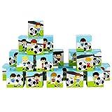 Papierdrachen DIY Adventskalender Kisten Set - Motiv grün mit Fußball-Spielern - 24 Bunte Schachteln aus Karton zum Aufstellen und zum Befüllen - 24 Boxen