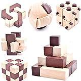 B&Julian IQ Puzzle 3D Holzpuzzle Set 10 Knobelspiele für Erwachsene Kinder Geduldspiele Rätselspiele Geschicklichkeitsspiele aus Holz Ideen Adventskalender Inhalt