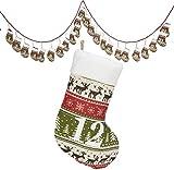 Trendyshop365 Weihnachtskalender Strümpfe/Dekorationsartikel / Strickmuster mit vielen weihnachtlichen Details: Elche, Tannen, Schneeflocken/ca.250cm lang/Strümpfe ca.13cm