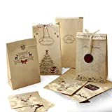 Sinoest Adventskalender zum Befüllen - 24 Kraftpapiertüten Braun mit Boden + Adventskalender Zahlen +Jute Kordel + Weihnachtsanhänger - Papier Beutel Papiertüten Weihnachten Kraftpapier Geschenktüten
