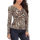 JiaMeng Damen Casual Leopard Print V-Ausschnitt Langarm Tops Shirt Bluse