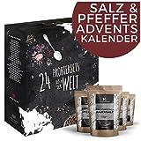 Salz & Pfeffer Adventskalender Weihnachtskalender mit 24 Natursalzen & Naturpfeffern Salz Kalender als Geschenk für Erwachsene