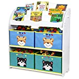 HOMFA Kinder Aufbewahrungsregal Bücherregal Kinderregal Spielzeugaufbewahrungregal Spielzeugkiste Kinderkommode mit 4 faltbarer schubladen, Motiv(Bär und Katze)