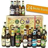 24x Biere aus aller Welt + Deutschland | Inkl. Bier Geschenkverpackung + Geschenk Karten Set + Bierbewertungsbogen | Geburtstagsgeschenk in Bierbox