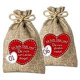 24 Adventskalender Säckchen aus Jute mit 24 GründenIch Liebe Dich, Weil . - (für Erwachsene Männer & Frauen geeignet) für Weihnachtskalender/Adventskalender zum Befüllen