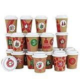 Papierdrachen DIY Adventskalender Kaffee-Becher - zum selber Basteln und Befüllen - mit rotem Washi Tape - 24 Coffee to Go Cups - Design Set 15