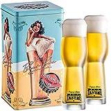 Kalea Beer Box   Metallbox mit 3D-Prägung   4 X 0.33 L Bierspezialitäten   Inkl. 2 Verkostungsgläser (Edition Lady in Glass)