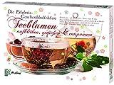 Feelino Teeblumen Geschenk-Kollektion, Adventskalender, Kalender mit 24 verschiedenen Teerosen, einzeln verpackt, weißer Tee, grüner Tee, schwarzer Tee