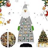 Hook Adventskalender zum Befüllen Kinder Stoff, Adventskalender 2020 Santa Aufhängen mit 24 Täschchen zum Befüllen, Weihnachtskalender zum Befüllen, XXL Adventskalender Taschen. (Grau)