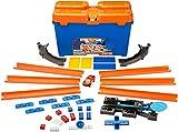 Hot Wheels DWW95 - Track Builder Superstunt Box, Trackset und Zubehör Kiste mit Bausteinen und Starter inkl. 1 Spielzeugauto, Kinder Spielzeug und Geschenkset ab 6 Jahren