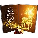 Hallingers 24 Pralinen-Adventskalender, mit/ohne Alkohol (300g) - Sternenstaub-Elch (Buch-Karton) - zu Weihnachten Adventskalender