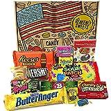 Kleiner Amerikanische Süßigkeiten Geschenkkorb von Heavenly Sweets   Süßigkeiten aus den USA   Auswahl beinhaltet Reeses, Jelly Belly, Jolly Rancher   13 Produkte in einer tollen retro Geschenkebox